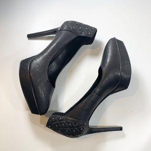 Nine West   Black 5 Inch Heels Pebbled Leather 9.5